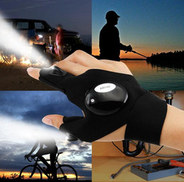 Wholesale Party Works - New 2 LED Light Flashlight Cycling Gloves Torch Magic Strap LED Glove For Repairing and Working Outdoor Sporting Camping Hiking Finger Light