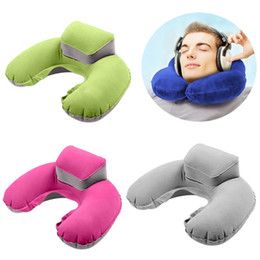 Wholesale head rest cushions - Inflatable U-Shape Neck Pillow Air Cushion Soft Head Rest Compact Plane Flight Travel 4 Colors AAA198