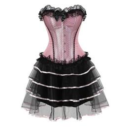 Argentina encaje corsés sexy para las mujeres más el tamaño traje overbust burlesque corsé y falda conjunto tutu corselet victorian vestidos de moda rosa supplier sexy tutus for women Suministro