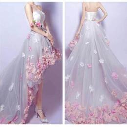 2019 weiße koreanische hochzeitskleider Heiße Spitze ein Wort Schulter weiße Braut Abendkleider Abschlussballkleid kurz vor langer Zeit nach kleinen Brautkleider