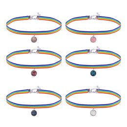 Wholesale colorful necklaces crystals - Cute crystal stone pendant Colorful Rainbow Choker Necklace Women Men Torques LGBT Gay Pride Clavicle Statement Chokers drop ship 162571