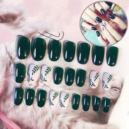 24 Teile / satz Voller Nägel Tipps Diy Nail art Werkzeuge Dunkelgrün Acryl Gefälschte Finger Nails Falsche Nagel Neue Stil für Mode Frauen von Fabrikanten