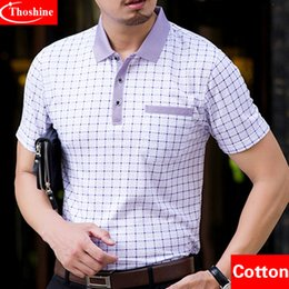 Wholesale Designer Formal Men Shirts - Thoshine Designer Men Cotton Polos Formal Business Style Male Polo Shirts Plaid Dot Smart Causal Camisa Turn -Down Collar Plus Size