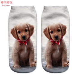 Wholesale Chiffon Material Wholesale - New Arrival 1Pair 3D Brown Color Dogs Printed Socks Unisex Cute Low Cut Ankle Socks Cotton Material White Color Dulaiduwan