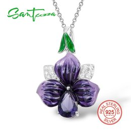 2021 оптовая ожерелье из эмали Wholesale-Silver Flower Pendant Fit For Necklace For Women Purple Flower HANDMADE Enamel Pendant CZ Stone Pure 925 Sterling Silver Jewelry