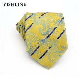 KT150 желтый синий Пейсли галстуки для мужской деловой костюм галстук 8 см повседневная мужской жаккард тканые шелковые галстуки шеи свадьба галстук от