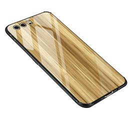 Wholesale Thin White Phone Brands - Phone case with Tempered Glass cover For Huawei P10 P10 Plus Hard Case Marble Earth Wood Space Luxury Thin Fashion Phone Cover