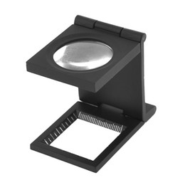 Wholesale microscope free shipping - 15X ABDl Desk Folding Magnifier Optical Lens Black Foldable Printing Cloth Magnifying Glass W  Scale Pointer Loupe Free Shipping