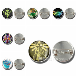 Wholesale zelda glass - Hot Game Legend of Zelda Glass Dome Cabochon Brooch Badge Link Shield Sword Midna Triforce Emblem Metal Jewelry Pendant Gift