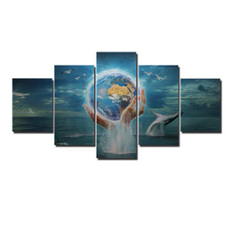 Wholesale Living Earth - Modern Wall Art Picture 5 Pieces Abstract Holding The Earth Dolphin Seascape Oil Painting For Living Room Home Office Decor Artwork Unframed