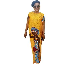 Argentina Más el tamaño XXL Mujeres Vestido nacional 2018 verano O-cuello manga corta palabra de longitud informal suelta amarillo elegante vestido largo Vestidos Suministro