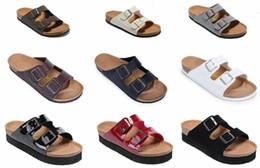 zapatillas unisex zapatos Rebajas 2018 Venta caliente Arizona verano Mujeres y hombres sandalias planas Zapatillas de corcho zapatos casuales unisex imprimir colores mezclados tamaño 35-46