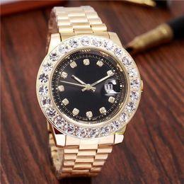 Wholesale mens black diamond watches - 2018 relogio Luxury Mens Brand Men Watch Big Diamonds Day-Date Brand Stainless Steel Perpetual President Automatic Diamond Wristwatch