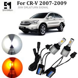 honda cr v led Desconto Navio livre 30 w cob dual-cor DRLturn sinal para honda CR-V CRV Turn Signals Auto Lâmpadas Led Branco lâmpadas WY21W 7440