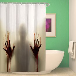 Wholesale Showers Curtains - Polyester Shower Curtain Personalized horror bloody shadow 3D Waterfall Bath Scenery Waterproof Bathroom Curtain Cortina 175x180cm
