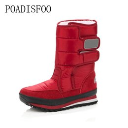 Wholesale Gifts Shoe Shaped - POADISFOO 2017 Christmas Gifts Winter Women Mans Boots Snow Boots Shoes For Santa Claus White Snow Color Plus Size USA Hot .xz29