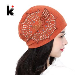 Wholesale Acrylic Balaclava - 2017 Knitted Autumn And Winter Female Hats For Women Beanie Brand Hip-hop Cap Balaclava Caps Pearls Diamond Ladies Lnit Skullies