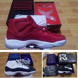 Canada Avec Box 11 chaussures de basket-ball pour hommes 2016 espace jam 45 Gym rouge en cuir verni + nylon noir formateur Concord 11s femmes Midnight Navy Offre