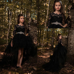 Wholesale Communion Dress Sash Belt - 2018 Cheap Hi-low Black Princess Dresses Tulle Girls Pageant Half Long Sleeves Lace Applique Top with Crystals Belt Formal Kids Wear