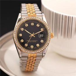 Wholesale diamond male watch - relogio masculino full diamond mens watches Luxury wrist fashion Black Dial automatic Calendar gold Bracelet Folding Clasp Master Male gifts