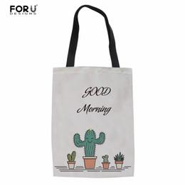 sacchetto di shopping pieghevole Sconti FORUDESIGNS Fashion Cactus Brand Designer Donna Shopper Bags Cotone Femminile / Mamma Borse Tote Borse Pieghevole Shopping drogheria