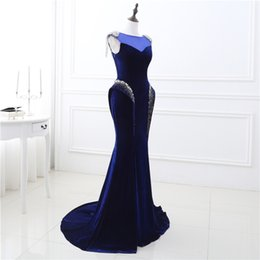 Wholesale Women S Pageant Dresses - Luxury Blue Long Mermaid Evening Dresses 2018 Sheer Scoop Crystal Beaded Sleeveless Women Pageant Gown For Formal Prom Party
