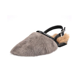 casual comfy shoes Coupons - 2018 Autumn  Winter Women Sandal Shoes Luxury Wool Fur Mules Comfy Furry Flat Loafers
