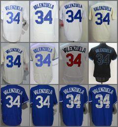 Wholesale El Lighting - 2018 Flexbase #34 Fernando Valenzuela Home Away Baseball Jersey Light Blue White Grey Cool Base Stitched Jerseys