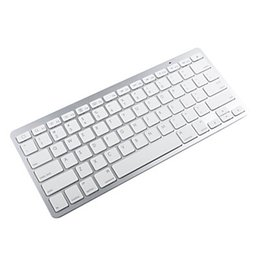 серебряная беспроводная клавиатура Скидка Slim Portable Bluetooth Wireless Keyboard Chiclet Keys White Silver Bk3001 For Android phone pad