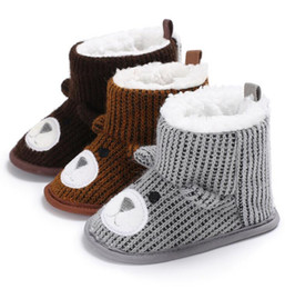 Wholesale crochet baby shoes free - DHL hot! Baby Girl Shoes Winter Warm Prewalker Baby Shoes Toddler Girl Boy Crochet Knit Fleece Boot Wool Snow Crib Shoes free ship