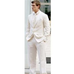 abiti di lino disegni uomini Sconti Modern Men Blazer 2 Pieces (Jacket + Pants + Tie) Causal Ultimate Coat Pant Designs Uomo Suit Ivory Linen Summer Stylish Tuxedo 005