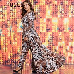 Wholesale Jumpsuits Women Leopard - Plusee Plus Size 3XL 4XL Women Slim Full Length Pencil Pants Patchwork Leopard Print Plus Size Women Jumpsuit