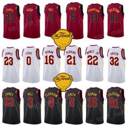 Wholesale red hills - Custom Basketball Jerseys 2018 Finals Lebron James George Hill Tristan Thompson Jeff Green Rodney Hood Jose Calderon Cedi Osman Kyle Korver
