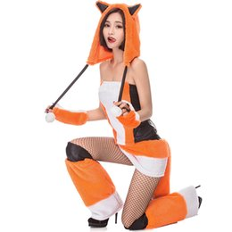costumes fur women Coupons - Carnival Plush Fox Costume for Women Faux Fur Animal Cosplay Uniform Halloween Night Club Party Cat Fancy Dress