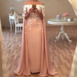 portraits nudes Promo Codes - 2018 Pink Arabic Long Evening Dresses Off The Shoulder With Wrap Cape Handmade Flowers Custom Made Prom Dress BA5013