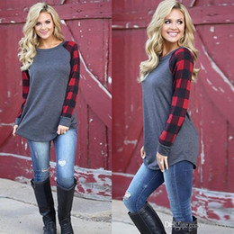 Wholesale Plaid Shirt Trend - Plus Size 4XL 5XL Long Sleeve T-shirt Lattice Ptinted New Fashion Trend Casual Cotton Blend Womens Patchwork Casual Tops Clothing