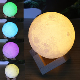 Wholesale moonlight weddings - 3D Magical Moon LED Night Light Dimmable 18cm 20cm 24cm Magical Moon LED Light Moonlight Desk Lamp USB Rechargeable 3D MoonLight Colors