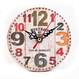 Wholesale Rustic Office Decor - Retro European Circular Wooden Clock Vintage Rustic Shabby Office Cafe Decor
