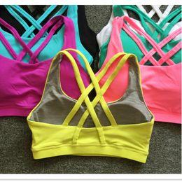 Espalda sujetador deportivo online-Sexy Back Cross Shockproof Sports Bras Women Gym Fitness Seamless Yoga Bra Crop Top Push Up Bra