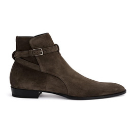 Wholesale Thigh High Boots Dress - top quality handmade Wyatt Harry England dress denim men Chelsea boots genuine leather MID Ankle strap luxury handmade boots