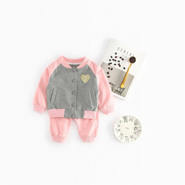 Wholesale baby baseball jackets - 2018 Spring Autumn Kids Clothes Baby Girls Single Breasted Coats Jacket Pants Set Children Heart Baseball Sports Suit BY063