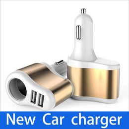 Wholesale cigarette phone charger - New Car Cigarette Lighter Car Mobile Phone Charger Dual USB One with Two Multifunction Mobile Car Charger