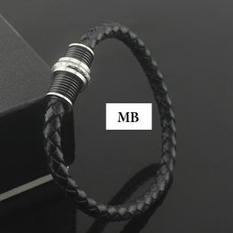 Stainless Steel MB Bracelet Europe's most popular the choice of high-end bracelet black Genuine leather chain