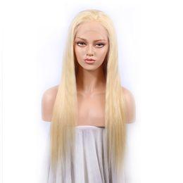 613 perruques couleur en Ligne-Pleine Dentelle Perruques De Cheveux Humains Brésilienne Blond Clair Couleur Des Cheveux Humains 613 # Droite Épaisse Sans Colle Dentelle Perruques Avec Des Cheveux