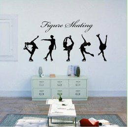 Wholesale Wall Decal Figures - Free shipping Figure Skating Girls Wall Stickers Large Wall Decals For Living Room Bedroom Home Decor Plane Wall Sticke Wallpaper Decal Art