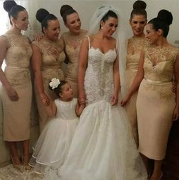 Wholesale Sheath Jewel Bridesmaid Dress - Classic Short Bridesmaid Dresses 2018 With Lace Applique Sheer Illusion Neckline Knee-Length Evening Dresses Pencil Gown
