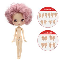 Wholesale Plastic Doll Joints - Free shipping Nude ICY DOLL with small breast joint body short pink hair 1 6 30cm curly hair