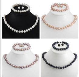 Insiemi reali di collane di perle online-Orecchini da donna realizzati in vera perle d'acqua dolce coltivate con perle coltivate