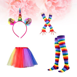 Wholesale Dance Tutus For Adults - Rainbow Tutu Suit Party Princess Dance Dress Ruffle Tiered Tutus Photography Layered Tutu Ruffle Skirt Dress for Adults Children Set