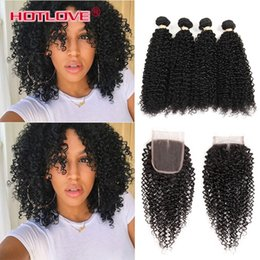 Wholesale Natural India Hair - 8A Good Quality Unprocessed 8A Indian Afro Kinky Curly Virgin Hair 4 Bundles with Lace Closure India Curly Hair Human Hair Weave